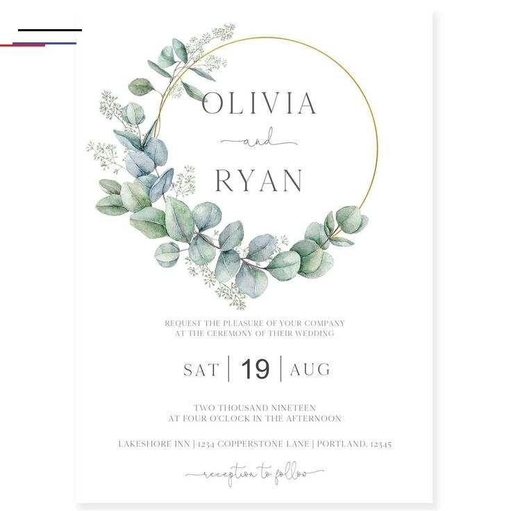 Photo of Eukalyptuskranz-Hochzeits-Einladung