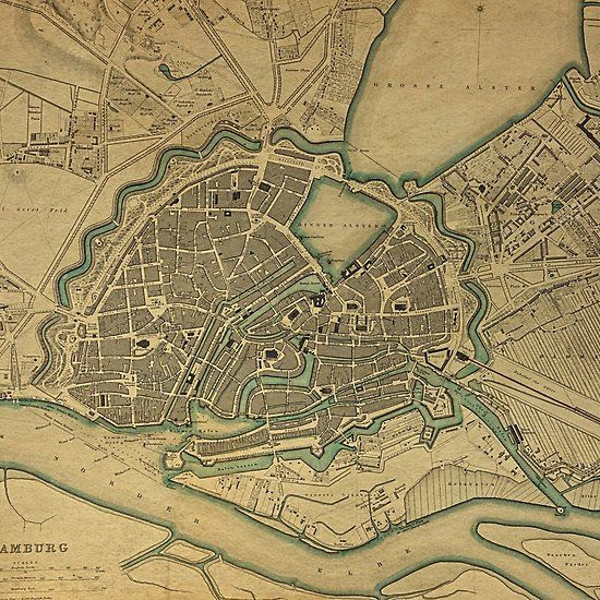 Topographic Map Germany.19th Century Topographical Vintage Antique Map Hamburg Germany