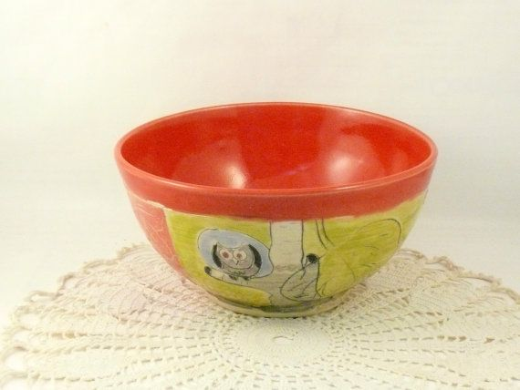 Artistic Handmade soup bowl with owl SB102 Ready to Ship -  for cereal or salad in woodland forest design / Holds 24 ounces