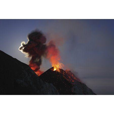 Stromboli eruption Aeolian Islands north of Sicily Italy Canvas Art - Martin RietzeStocktrek Images (17 x 12)