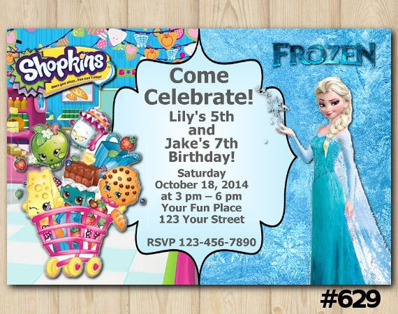 Twin Frozen and Shopkins Invitation Twin Custom Birthday