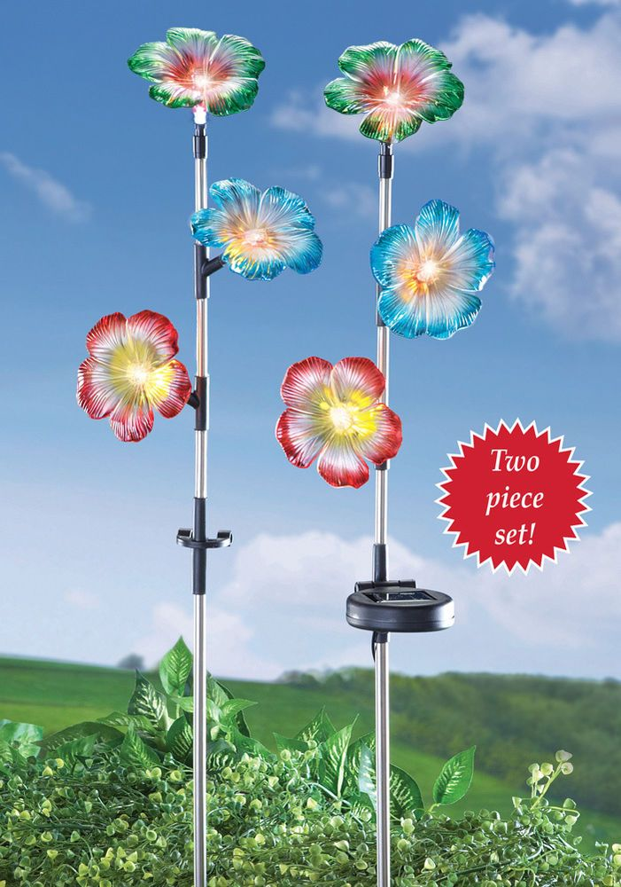 Solar Garden Flower Stakes Petunia   Set Of 2 Yard, Walkway, Country Home  Decor # Http://stores.ebay.com/Inviting Life