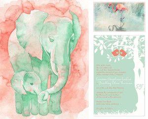Acuarela - Cuadro - Invitación de boda... Coral & Menta