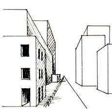 arbeitsblatt zeichnen perspektive zentralperspektive schluchten in der stadt perspektive in. Black Bedroom Furniture Sets. Home Design Ideas