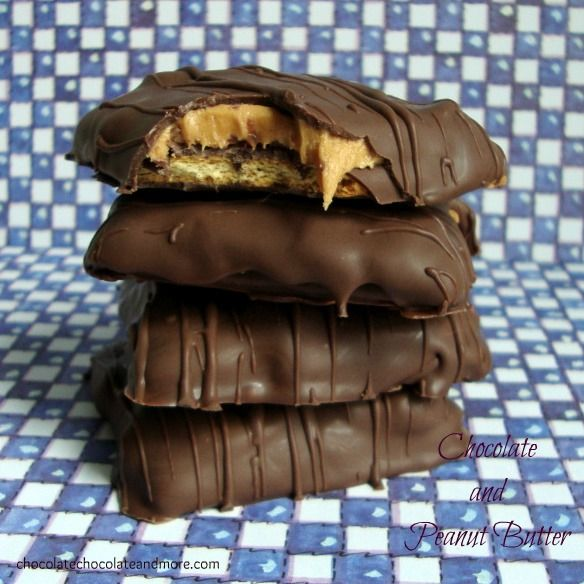 Peanut Butter on Graham Ctackers dipped in Chocolate.
