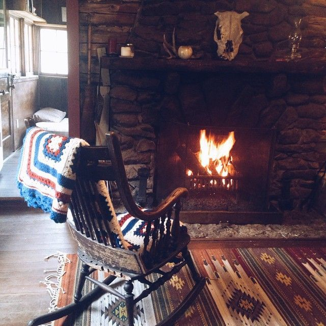 Rocking Chair Beside The Fire Home Cozy Fireplace Home Decor