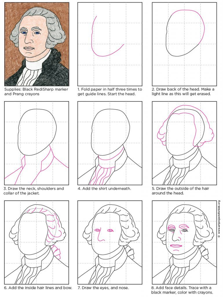 George Washington Drawing Easy : george, washington, drawing, George, Washington, Projects, Projects,, Drawing
