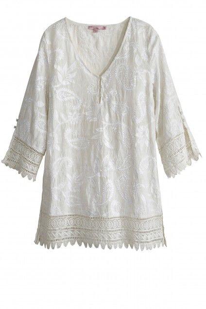 481f36c8fb8581 Lasca Embroidered Linen Lace Trim Top
