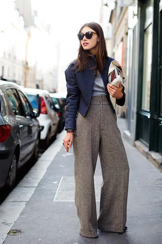 gray wide leg pants - Pi Pants