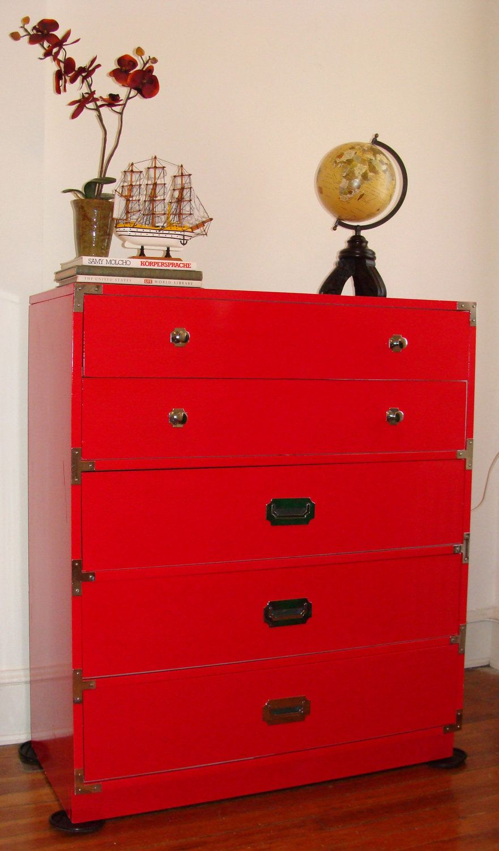 Vintage Campaign Dresser Tall Chest 5 Drawer Bernhardt Cherry Red Sold Etsy