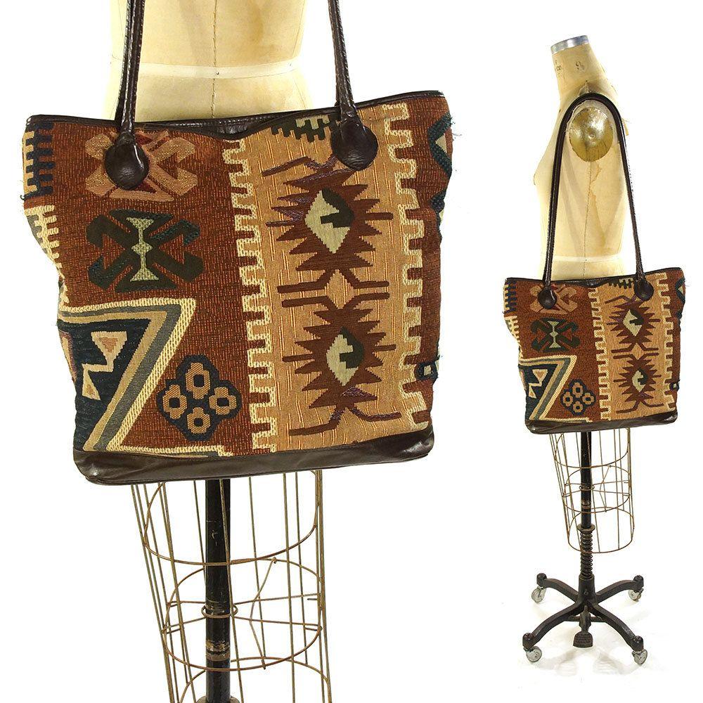 Vintage Southwestern Large Woven Tote Bag