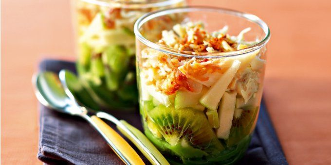 Verrines salées de Noël (avec images) | Salade kiwi, Recette kiwi, Idée recette facile
