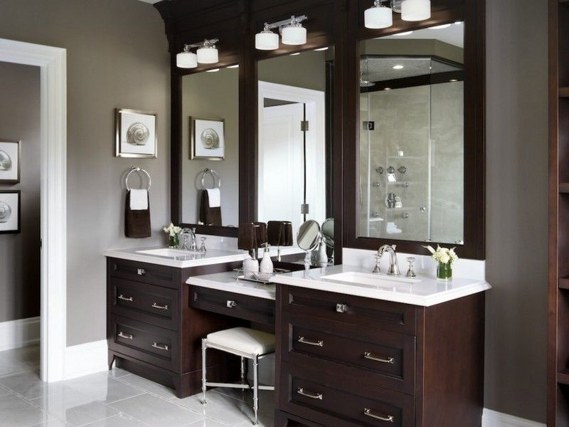 Custom Bathroom Vanities With Makeup Area Master Bathroom Vanity