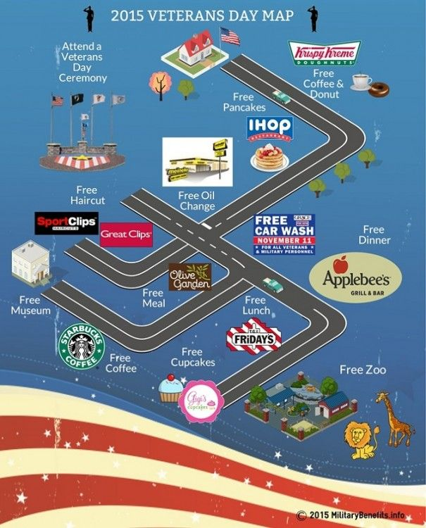 A Veterans Day map to free meals, hair cuts and more for