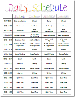 Daily Schedule For The Family