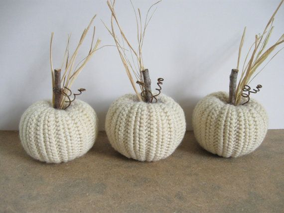 White Pumpkins Fall Decor Autumn Decor Crocheted by dlf724 on Etsy