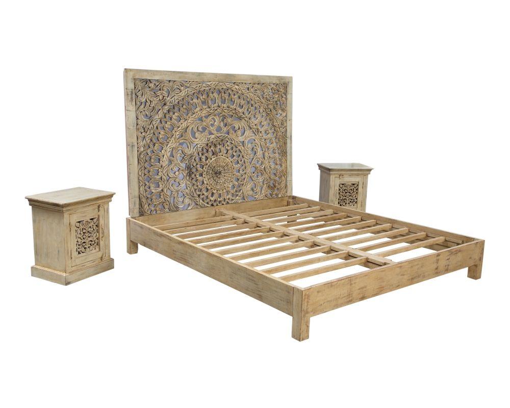 bettgestell mit lattenrost und kopfteil aus mangoholz wohnen deko bedroom bed und room. Black Bedroom Furniture Sets. Home Design Ideas