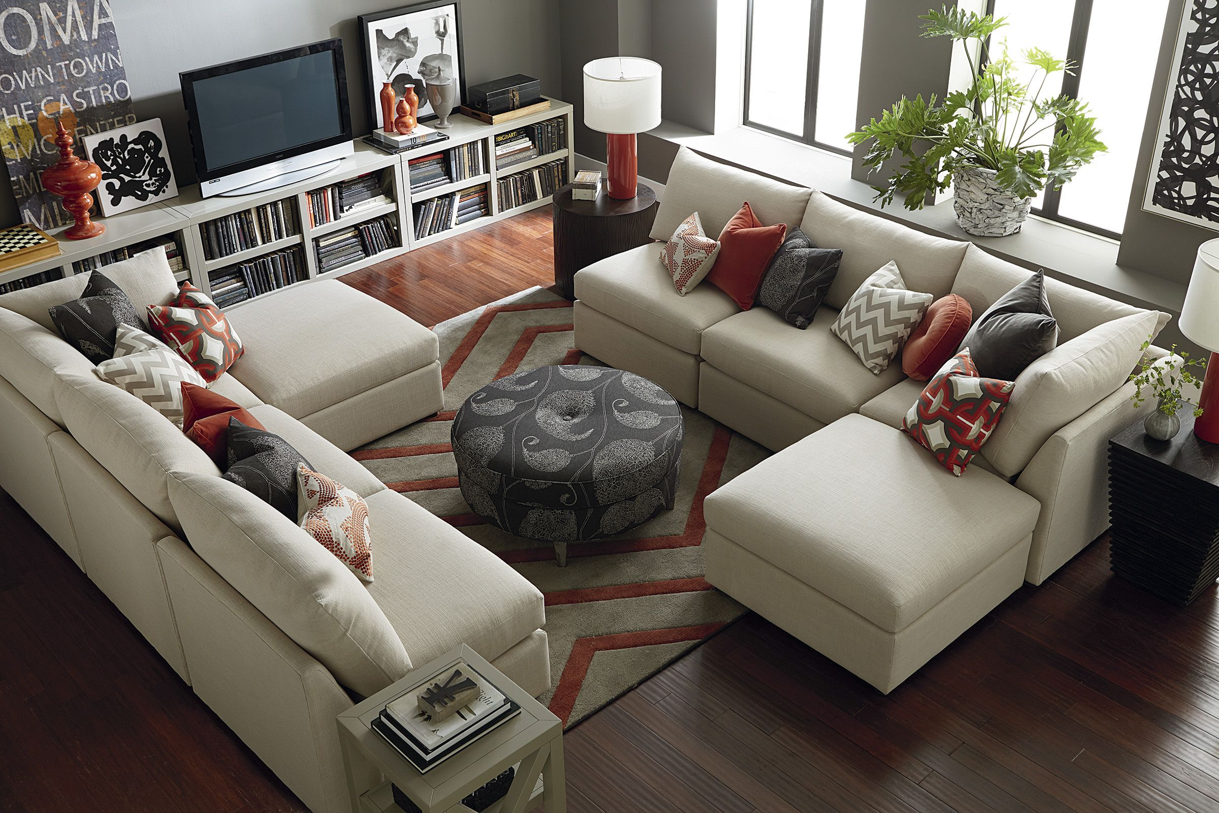 Beckham sectional by bassett furniture double the space double the fun customize your for Bassett living room u shaped sectional