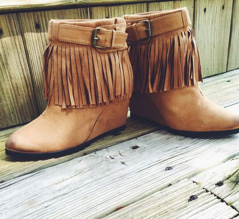 Camel colored Fring Bootie with Belted Detail in a wedge heel!