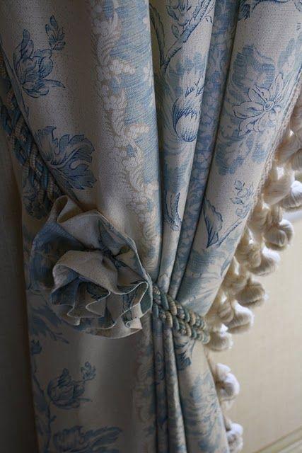 tie backs with detail! Fun With Fabrics Pinterest Azul y - cortinas azules