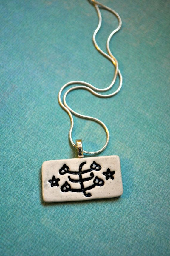 Bahai Ringstone Symbol Necklace Porcelain Rectangle In Black And