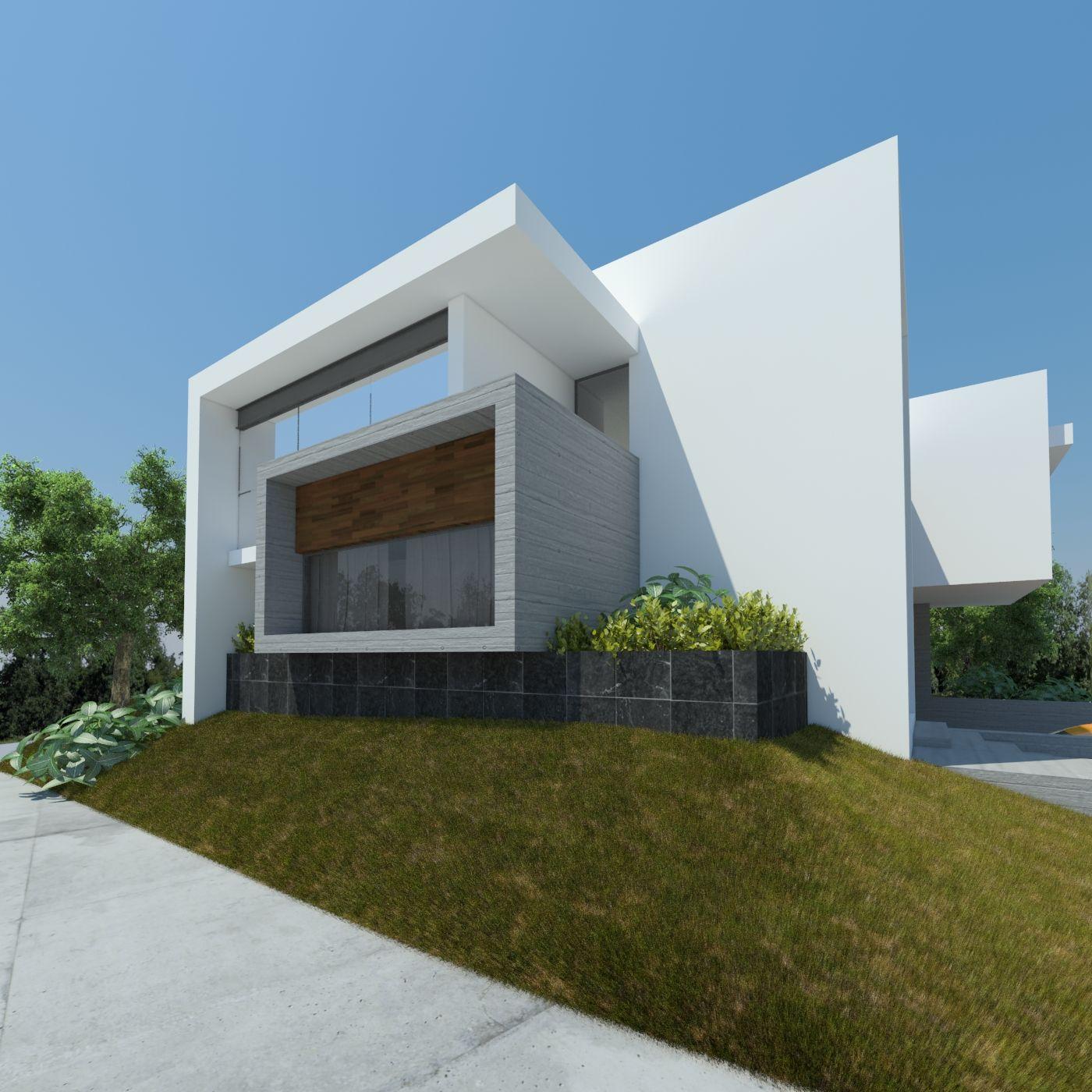 Vista lateral casa verona houses pinterest for Casa moderna arquitectura