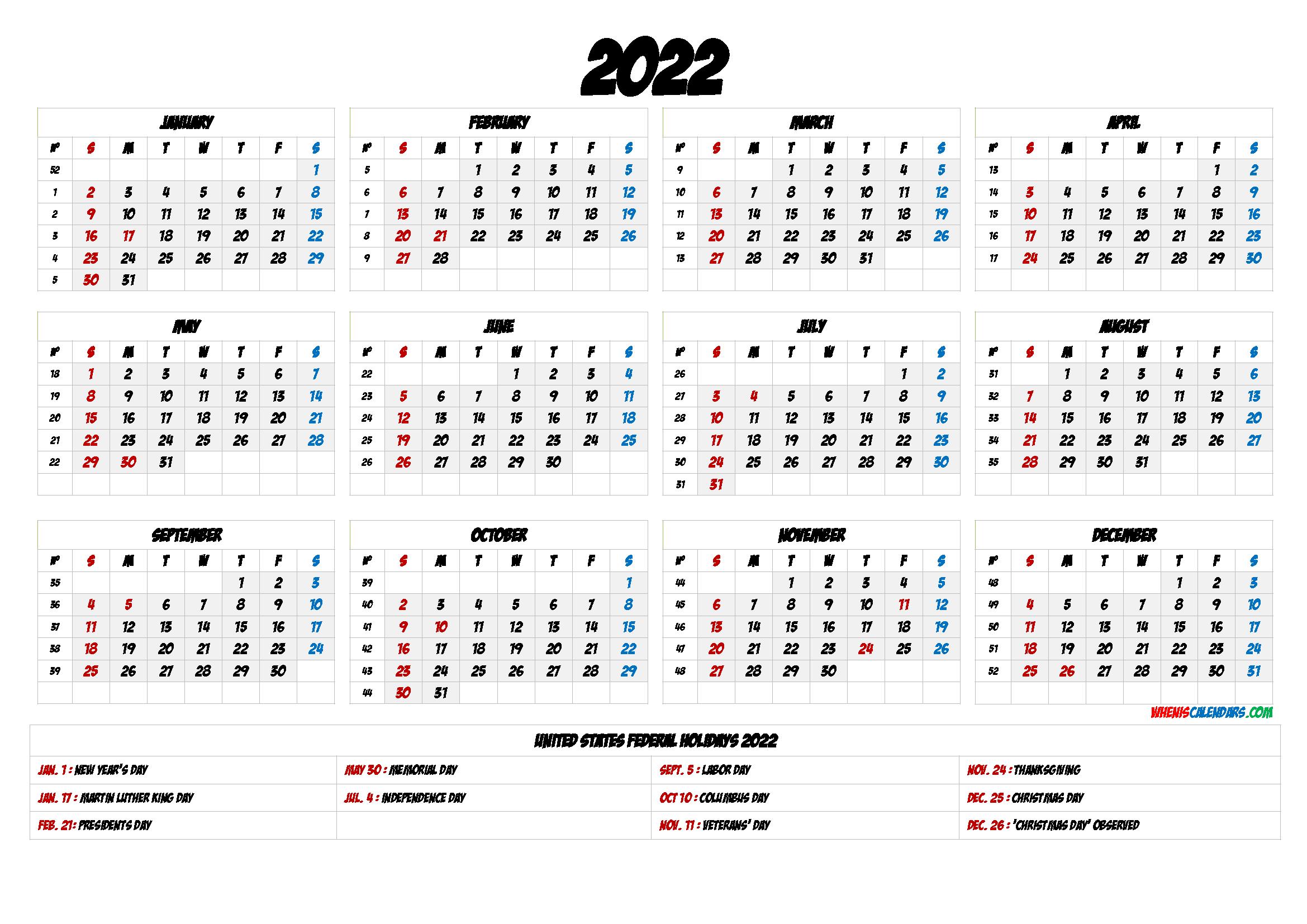 2022 Calendar with Holidays Printable - 6 Templates ...