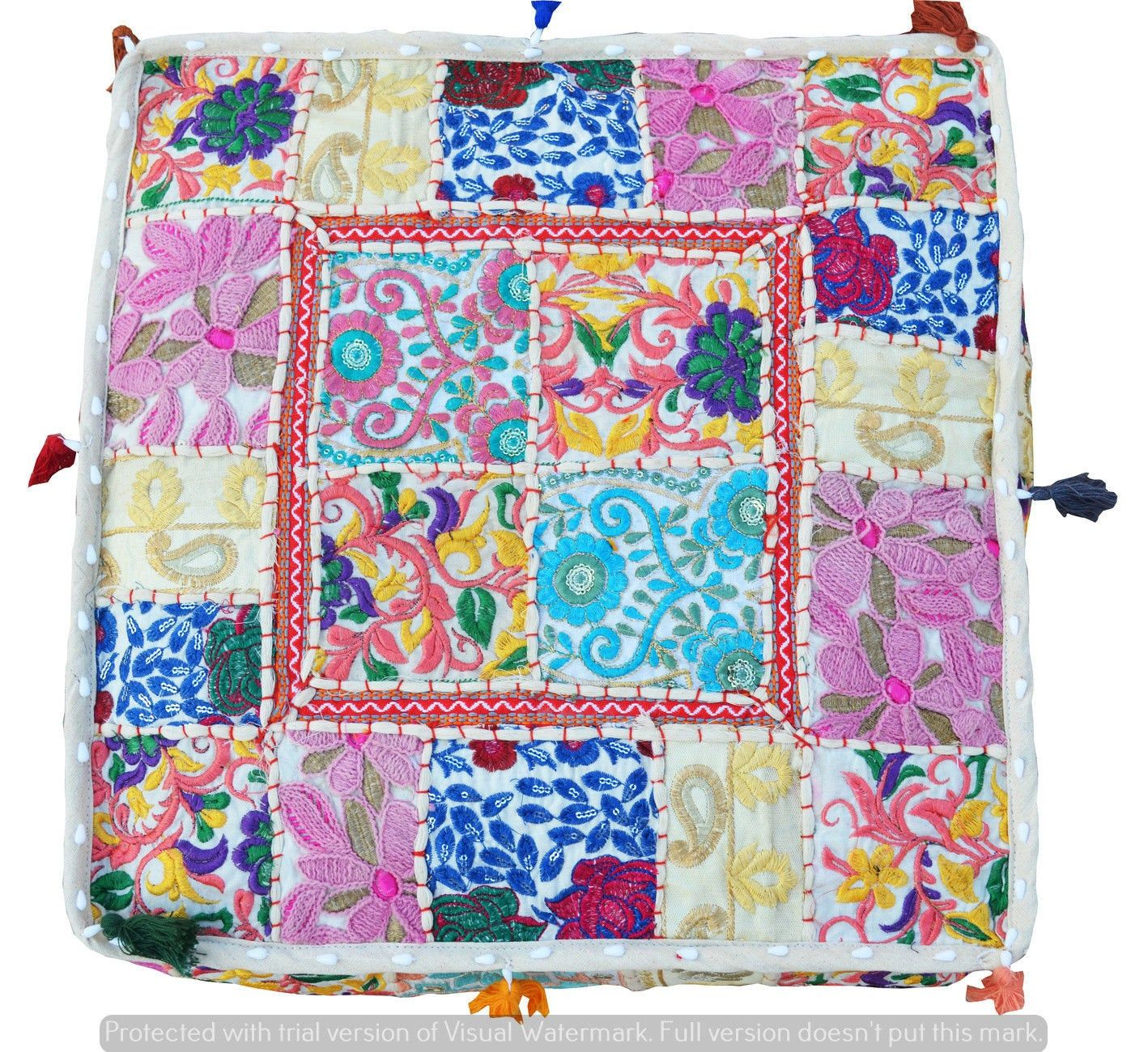 Indian Green Patchwork Large Floor Ottoman Pouf Cushion Pillow Cover Square Pet