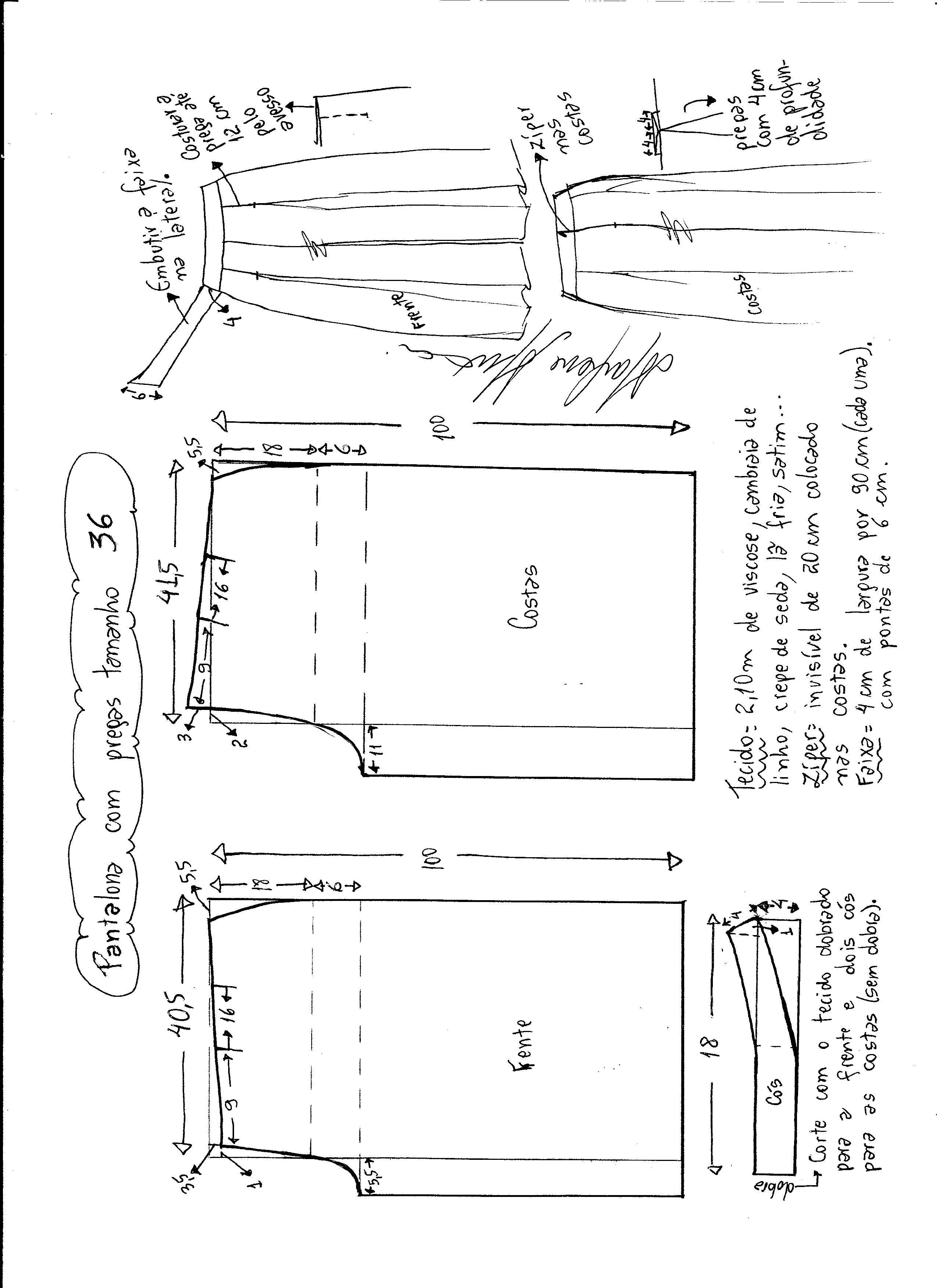 Esquema de modelagem de Pantalona com pregas Tamaño de 36 ...