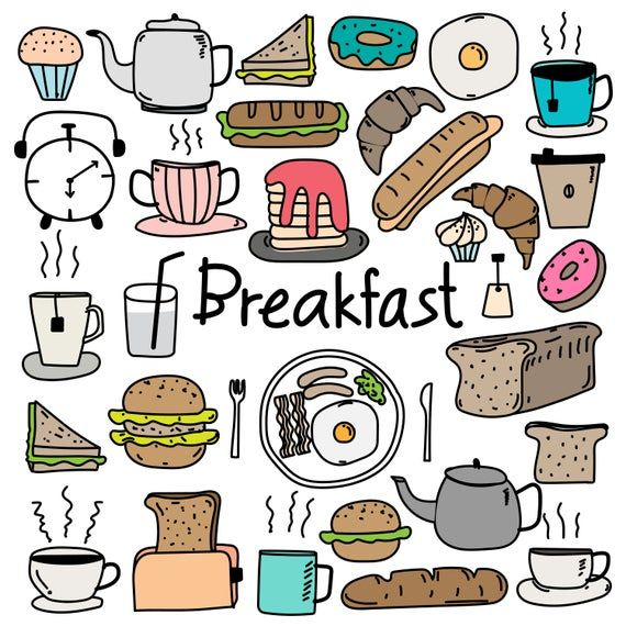 Hand Drawn Doodle Breakfast Clipart, Doodle Bakery Clipart ...