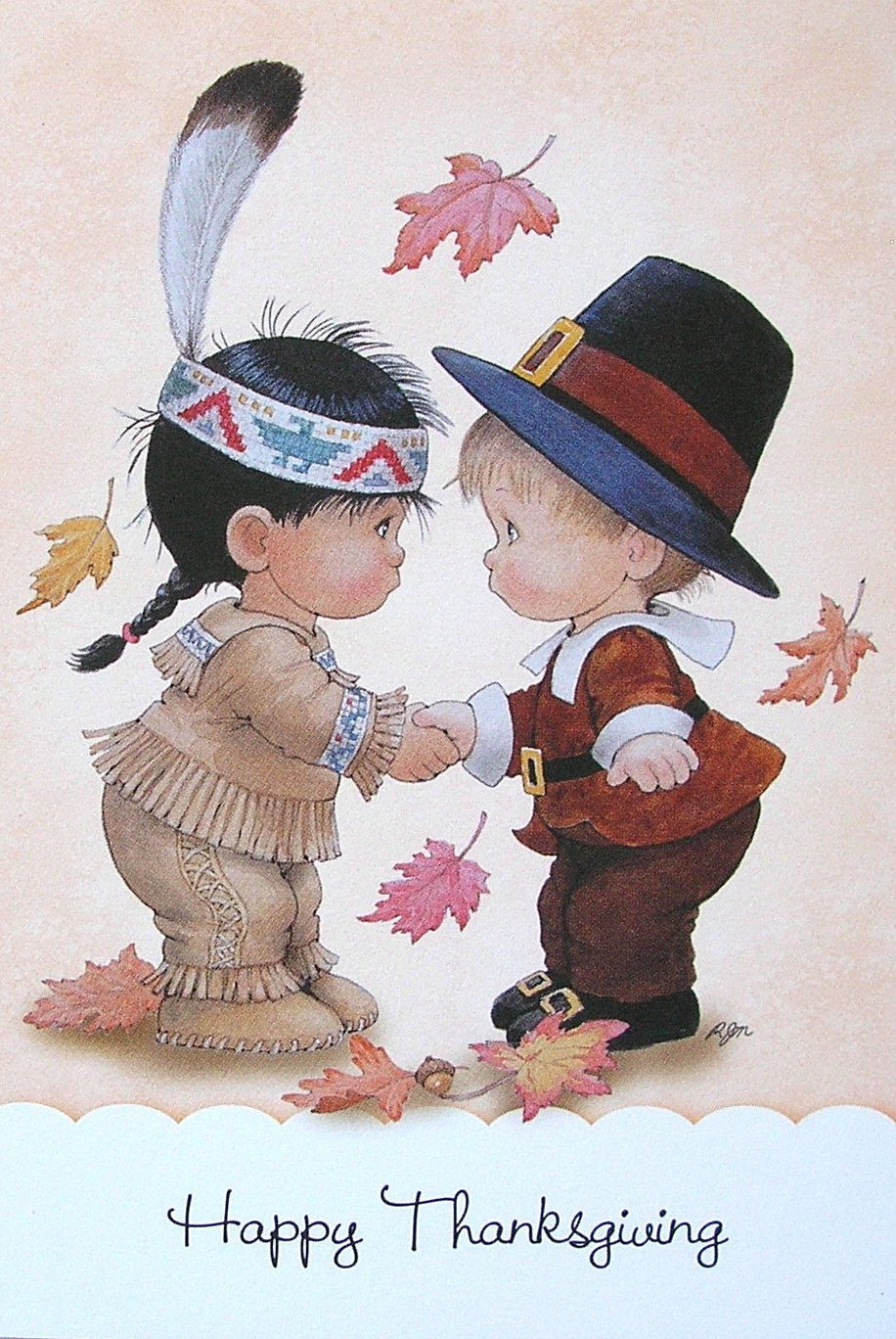 Morehead child pilgrim native american indian thanksgiving leaves morehead child pilgrim native american indian thanksgiving leaves greeting card ebay m4hsunfo