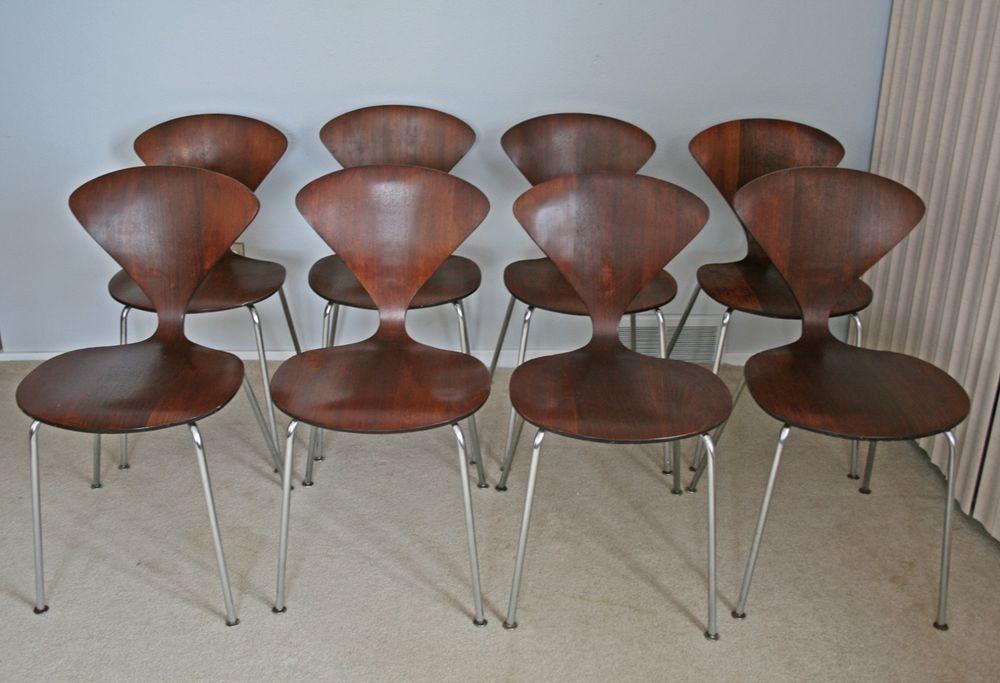 vtg mid century modern norman cherner plycraft dining chair set eames knoll era