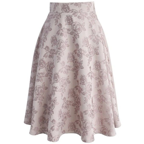 Chicwish Darling in Rose Jacquard Midi Skirt (60 CAD) ❤ liked on Polyvore featuring skirts, pink, floral midi skirt, flower print skirt, pink midi skirt, midi skirt and sexy skirt