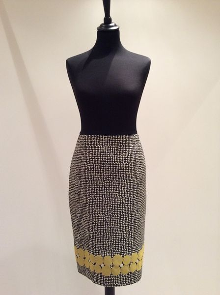 White & Mustard Dotty Skirt. Paola collection now available in store and online a Willow Blue. #Womensfashion