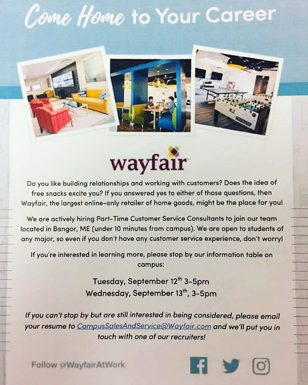 Wayfair in Bangor is hiring part time Customer Service Consultants ...