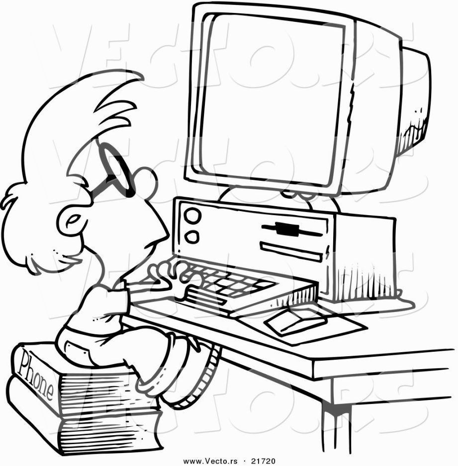 Coloring Computer Computer Drawing Kids Computer Coloring Pages