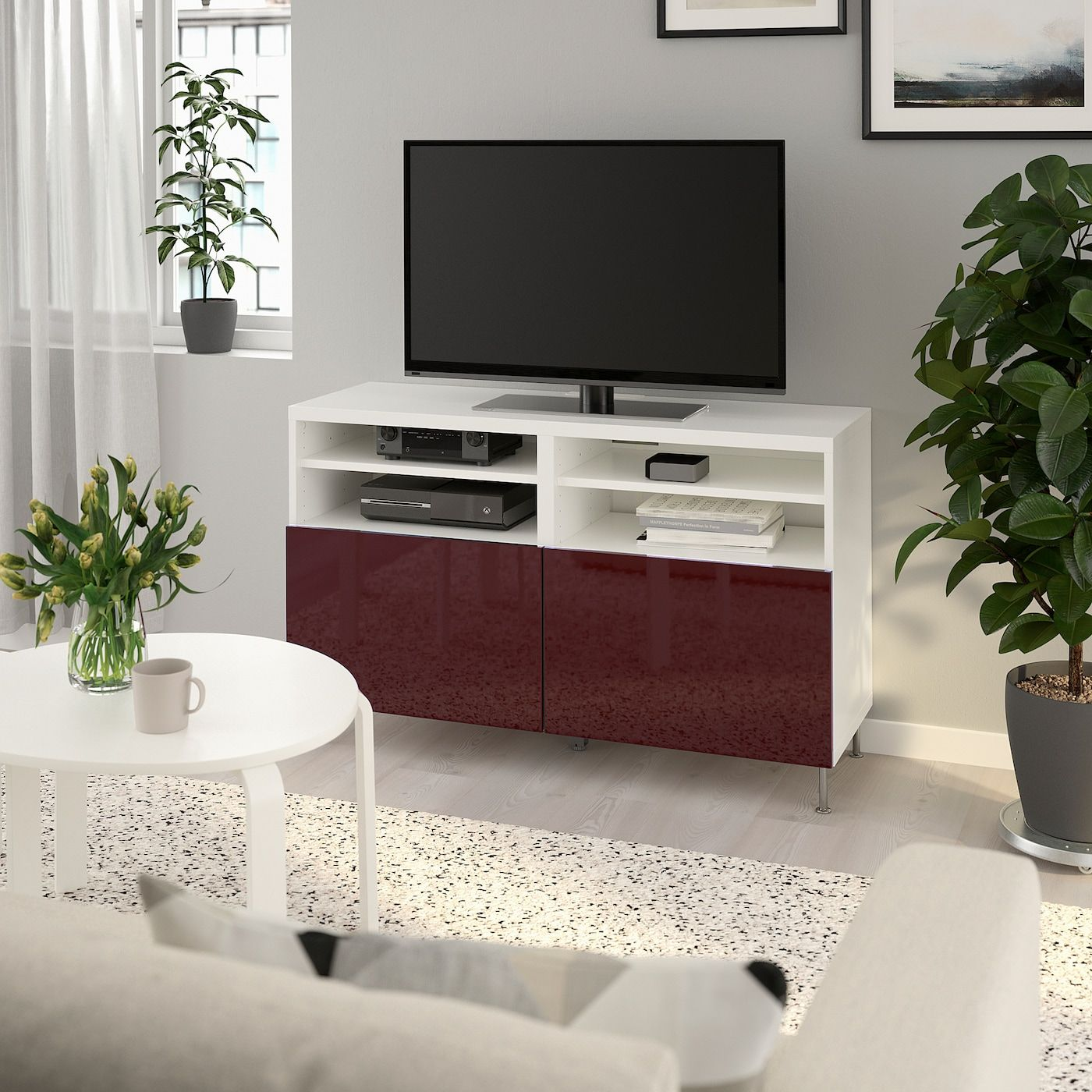BESTÅ TV unit with doors - white Selsviken/Stallarp, high gloss dark red-brown - IKEA