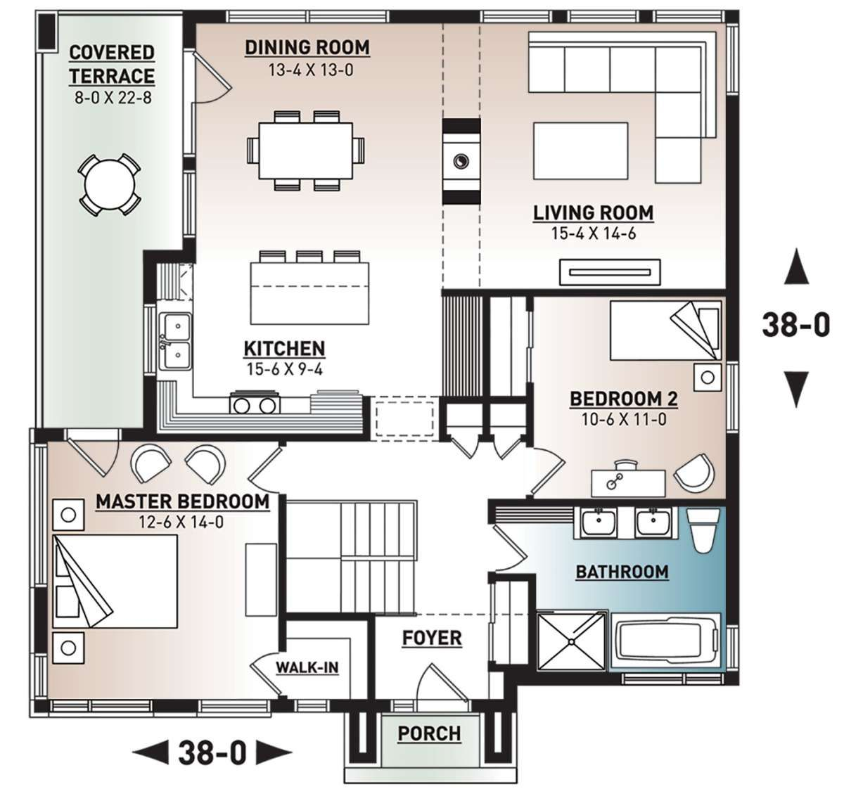 House Plan 034 01221 Contemporary Plan 1 269 Square Feet 2 Bedrooms 1 Bathroom Basement House Plans House Plans Modern Style House Plans