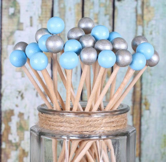 Light Blue & Silver Painted Rock Candy Kabob Sticks (12)