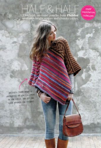 Knitting Pattern Ladies Poncho Variegated Stripes Chunky Cables