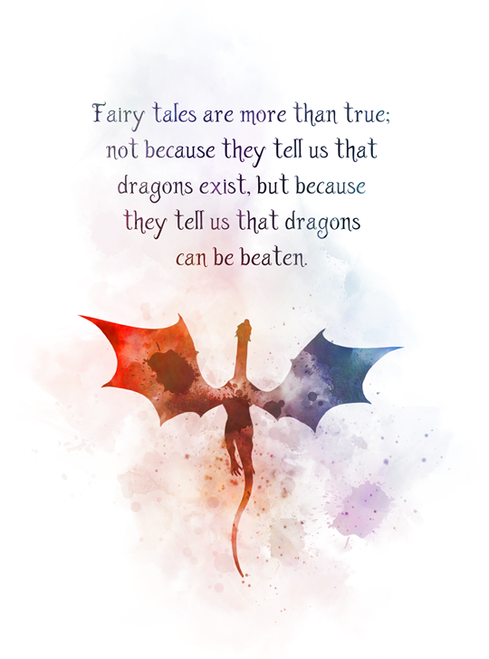 Fairy Tale Dragon Quote ART PRINT Inspirational, Nursery, Gift, Wall Art, Home Decor