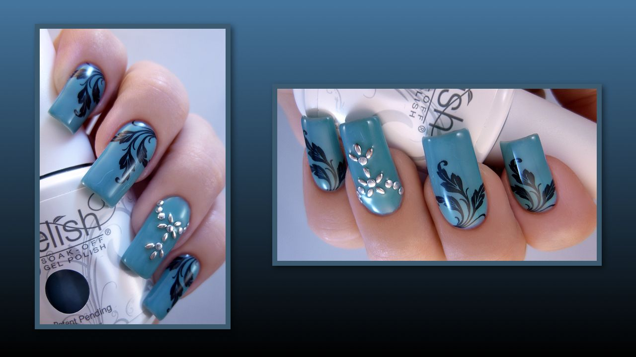Gelish Up in the Blue with black stamp and silver studs.