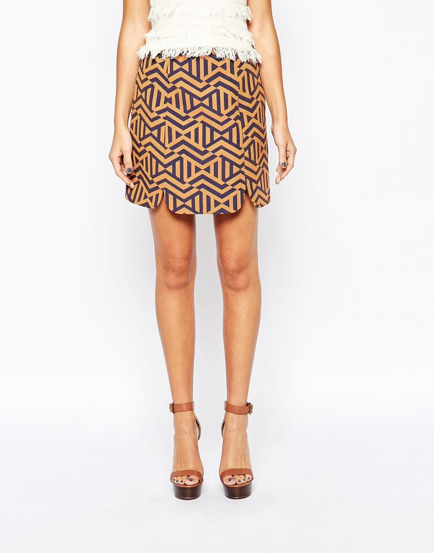 Image 4 of New Look Zig Zag Mini Pelmet Skirt
