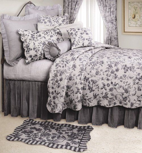 Bedroom Decorating Ideas Totally Toile: Brighton Black Toile Quilt And Bedding