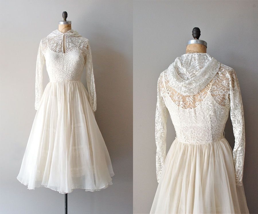 1940s Lace Gown with Swirl Buttons