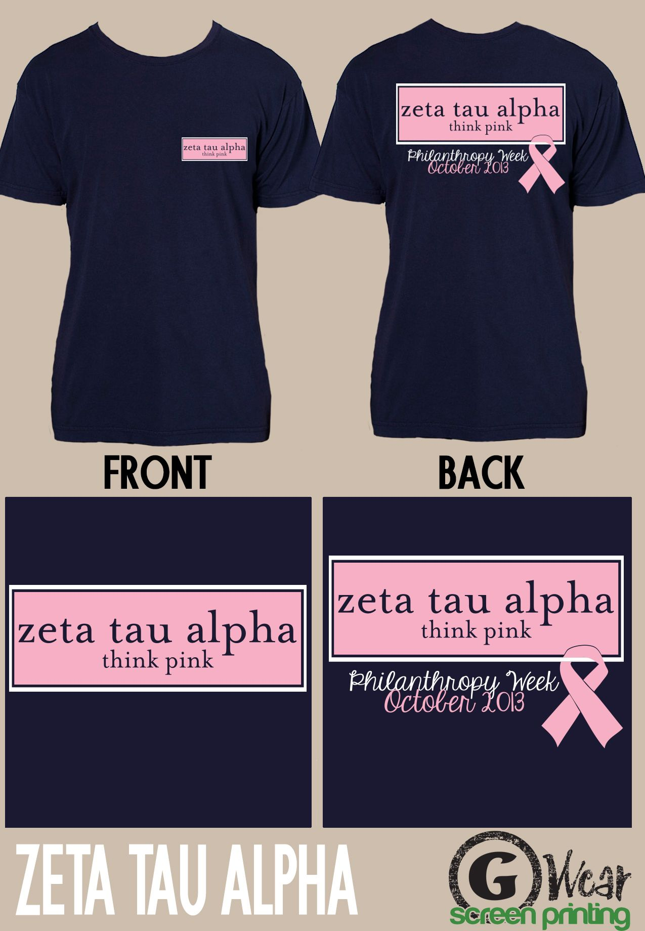Think Pink shirts for the Zeta's Philanthropy week!! | Screen ...