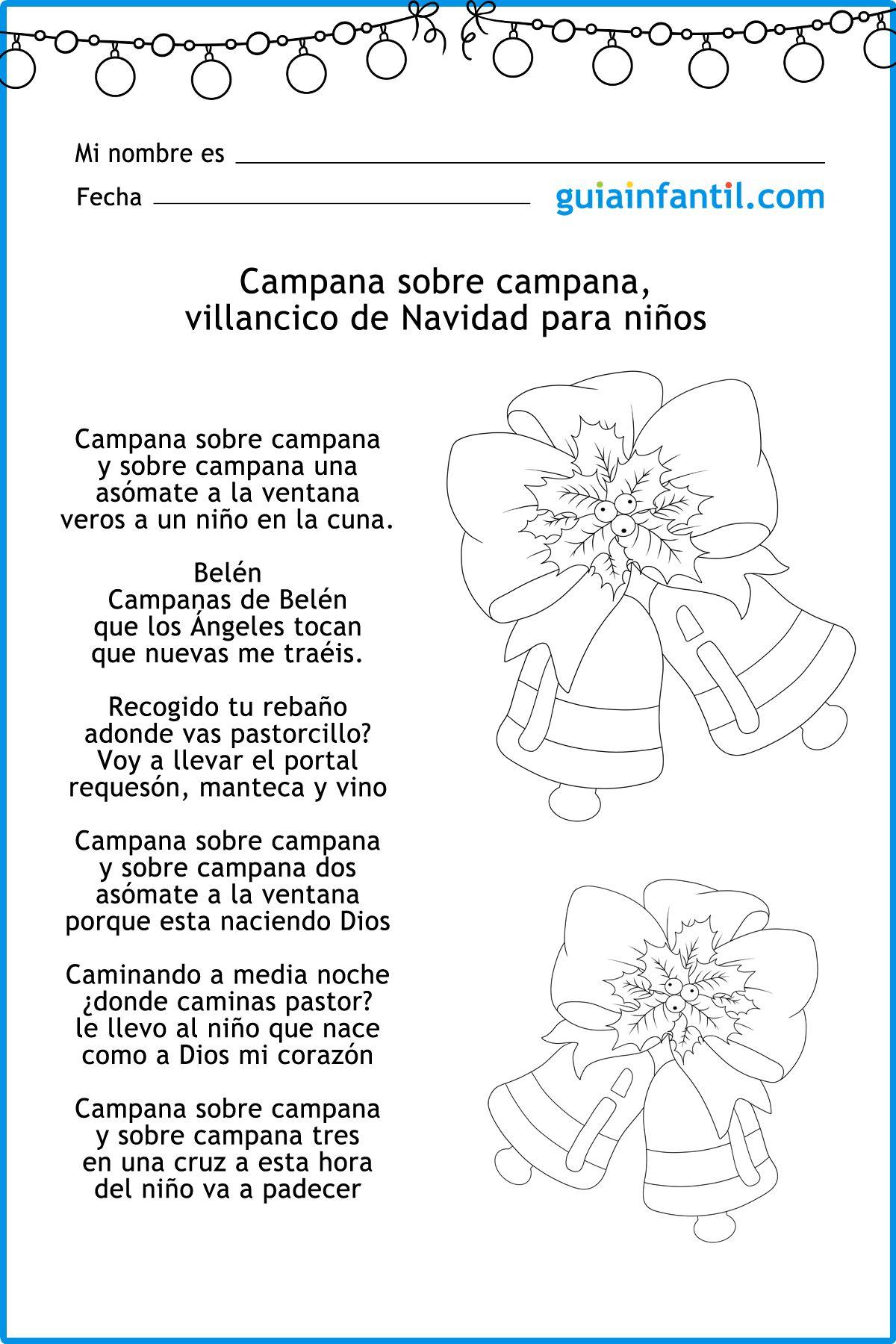 Letra Del Villancico Campana Sobre Campana Villancico De Las Campanas Villancico Cancion De Navidad