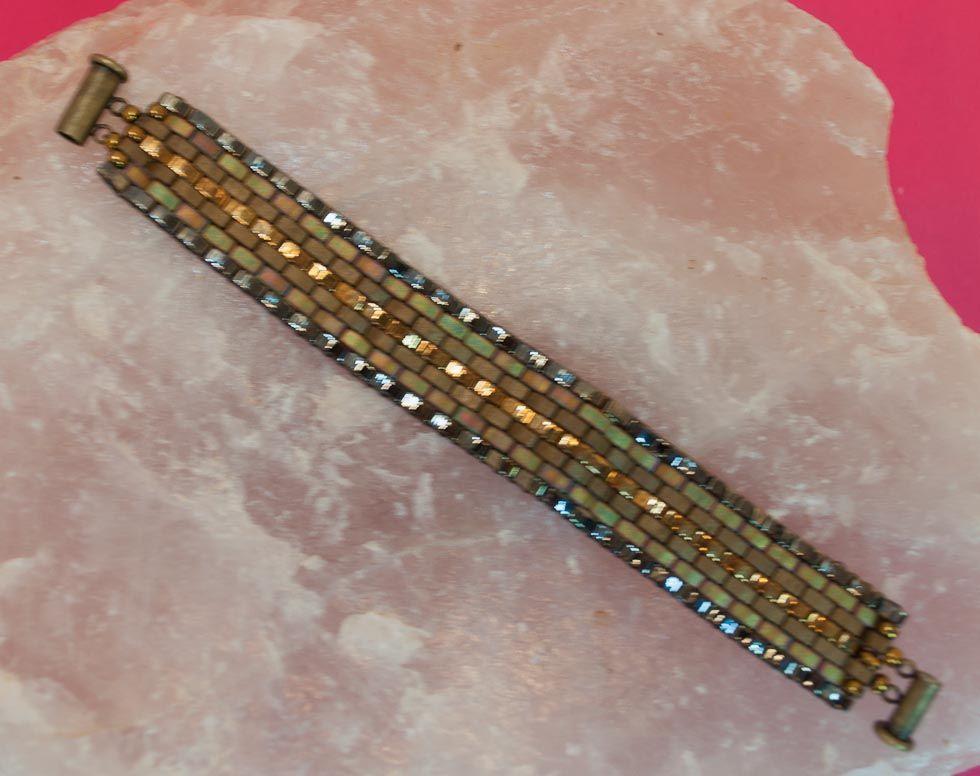 This Bracelet  Bronze Watchband  Is Made Using The New  U0026quot Half Tila U0026quot  Beads On The Ricks Beading