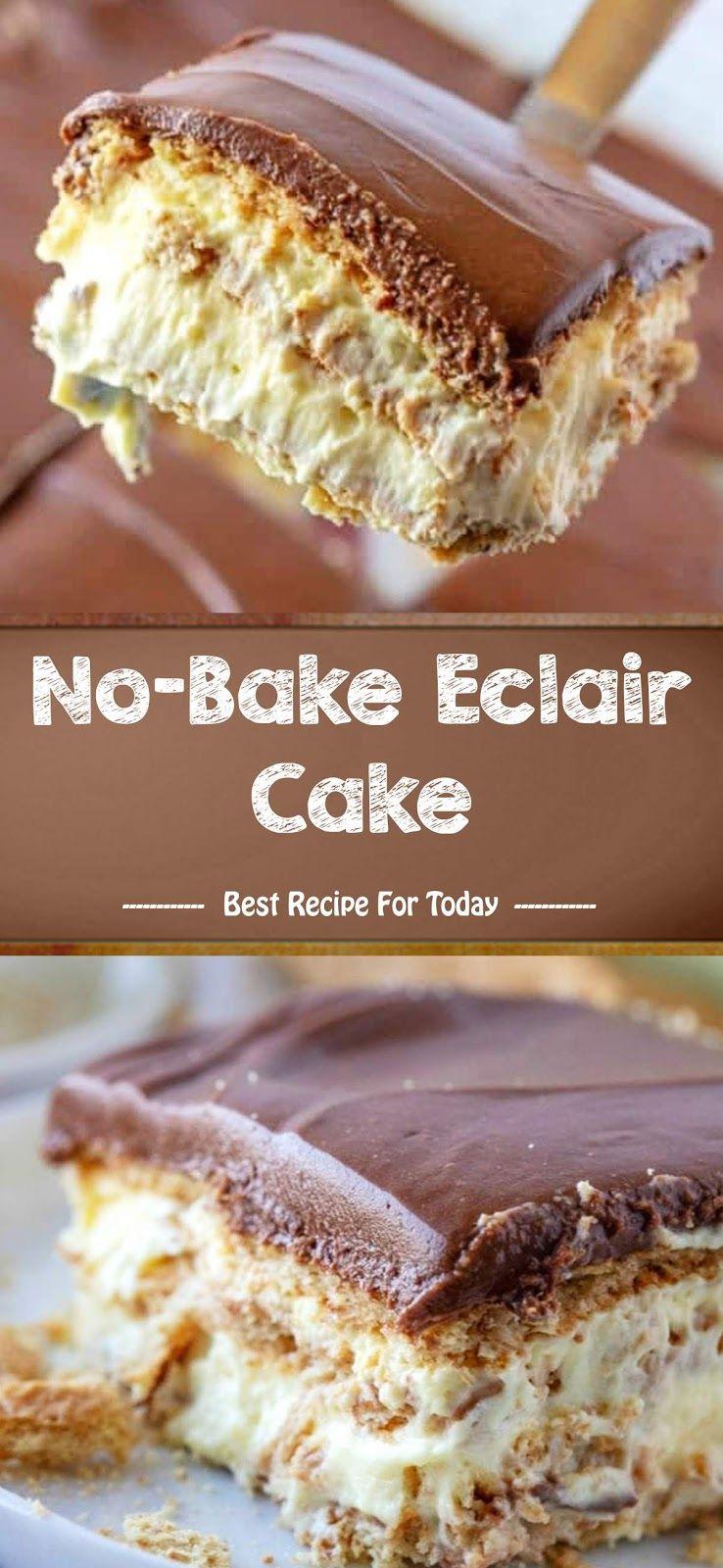 No Bake Eclair Cake Best Recipe 005 Resep Makanan Penutup Memanggang Kue Makanan
