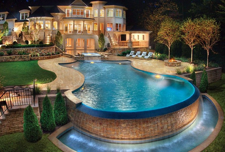architecture beautiful houses with swimming pool cool fancy swimming pool scheme - Cool Pools With Waterfalls In Houses